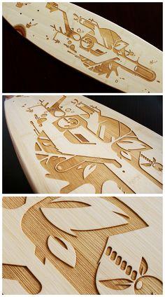 Bamboo laser longboard by Christian ARO Schupp, via Behance