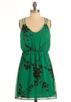 Greenery Goddess Dress - Mid-length, Green, Black, Floral, Spaghetti Straps