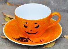 Jack O'Lantern Coffee Cup & Saucer