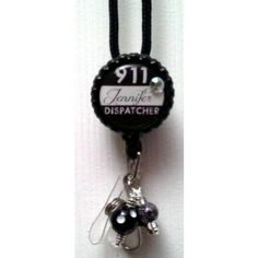 Badge Reel Embellished with Beads Attached to 36 inch lanyard.  Please Provide Name Desired in Notes to Seller Section