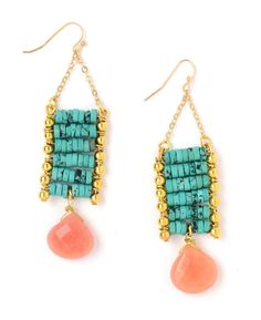 Turquoise Ladder Stone Drop Earrings