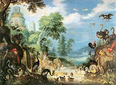Roelant Savery, Landscape with Birds 1628 Oil on panel, 42 x 57 cm Kunsthistorisches Museum, Vienna Kunsthistorisches Museum Wien, Most Beautiful Birds, Dutch Golden Age, Safari, Bird Art, Oeuvre D'art, Old Pictures, Natural History, Pet Birds
