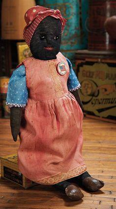 "The Blackler Collection (Part 2 of set): 232 American Black Stockinette ""Land That I Love"" Folk Doll Primitive Doll Patterns, Primitive Folk Art, Primitive Decor, African Dolls, African American Dolls, Black Queen, Antique Dolls, Vintage Dolls, How To Make Toys"