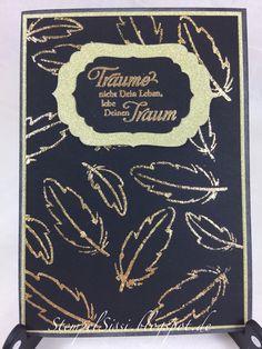 #Lawn_fawn #Dream Federn feathers card Karte gold #Karten_Kunst #StempelSissi #Sissi_s_kreatives_Kämmerlein