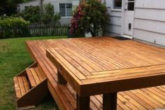 Exterior, Building Awesome Deck For Your Backyard: Awesome Square Floating Deck With L Shaped Deck Bench