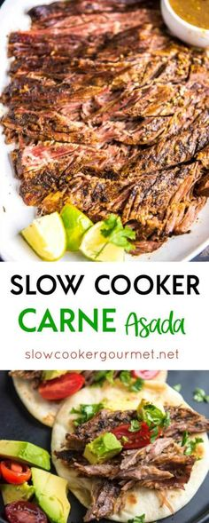 flank steak tacos Slow Cooker Carne Asada is a simple way to make delicious tacos any night of the week! This tender delicious beef has just the right seasonings! Crock Pot Tacos, Crock Pot Slow Cooker, Slow Cooker Recipes, Beef Recipes, Cooking Recipes, Healthy Recipes, Crockpot Flank Steak Recipes, Carne Asada Recipes Easy, Tacos Crockpot