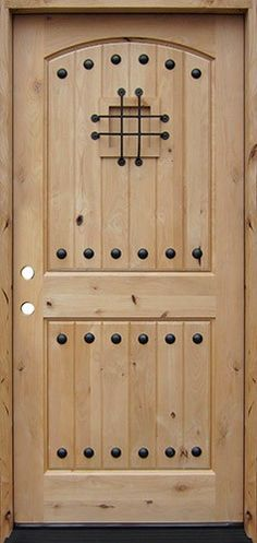 A beautiful knotty alder wood door is a great choice for your home entry. We offer a wide range of exterior door styles with a variety of glass designs, all at discount prices in Houston, Texas. Cheap Interior Doors, Pine Interior Doors, Interior Window Trim, Wood Entry Doors, Rustic Doors, Old Doors, Knotty Alder Doors, Tiny House Exterior, Exterior Doors