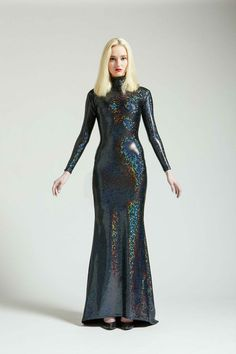 Black Holographic Long Sleeved Swan Necked Maxi by AliciaZenobia