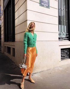 Silk skirt midi long fall look yellow a-line skirt outfit Silk slip bias saffron wear street style looks Silk fall trends long women skirt - New Ideas Skirt Midi, Dinner Outfits, Night Outfits, Office Outfits, Slip Skirts, Silk Slip, Skirt Outfits, Club Outfits, Satin Skirt