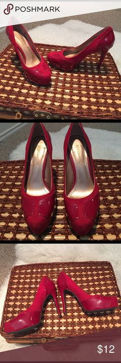 BCBGeneration red heels sz 6.5 Size 6.5 heels by BCBGeneration. Part of it red faux suede; other is shiny red. A pretty combo of looks. Worn a few times, but signs of wear are minimal. The biggest is some scuffing, bottom of each heel. Does not affect the look of the shoe, and not noticeable when worn. Missing their box. 4.5 inch heel. No trades or holds. BCBGeneration Shoes Heels