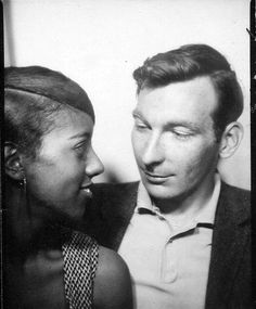 rare photo of multiracial couple in the 1960s. I hope they had many good years together :) in photo booth