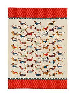 Dachshund Small Dog Print Tea Towel   M&S