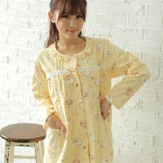 31.68$  Buy here - http://aiipc.worlditems.win/all/product.php?id=32762993103 -  Cotton Maternity Sleepwear Nursing For Feeding Nightgown Clothes For Pregnant Women Cute Breastfeeding Pajamas Winter 60M0083