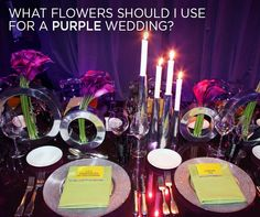 It all depends on the time of the year. For purple flowers, some of my favorites are purple tulips, or the very dark purple miniature callas lilies. Use lots of gold votive candles and you'll make every one look good. For more purple wedding inspiration, click here.
