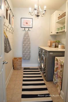 Shabby Chic Laundry Room with Chandelier