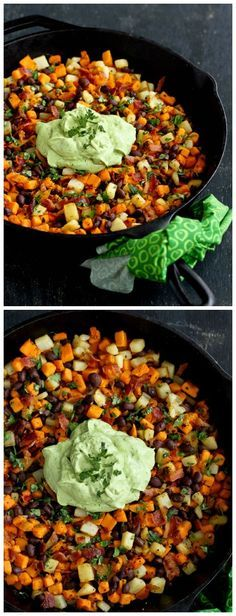 Sweet Potato Hash Recipe with Creamy Avocado Sauce...120 calories and ...