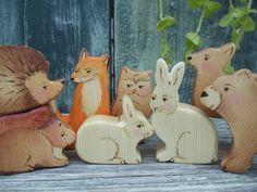Wooden toy set, Forest Animals, Fox, Squirrel, Bunnies, Hedgehog, Bear, Owl and Deer - 8 Wood Animals by WaldorfWoodToys on Etsy https://www.etsy.com/listing/239796590/wooden-toy-set-forest-animals-fox