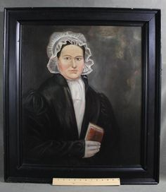Antique 19thC Folk Art Portrait Oil Painting Lady w/ Red Book Life-Size, Sold Ebay 651.00. ...~♥~