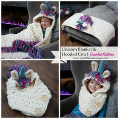 DescriptionThis is a PDF crochet pattern for a Bulky & Quick Unicorn Blanket! Pattern also includes a Hooded Unicorn Cowl in toddler-adult size.This Blanket is designed as a gorgeous hooded fringe … Love Crochet, Crochet For Kids, Crochet Scarves, Crochet Yarn, Crochet Blankets, Crochet Crafts, Crochet Projects, Diy Bebe, Hooded Blanket