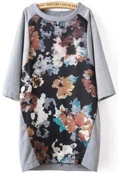 Grey Round Neck Half Sleeve Print Dress 20.00