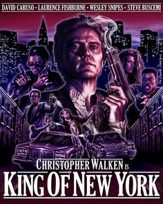 King of New York (1990) - Dir. by Abel Ferrara; Written by Nicholas St. John; Starring Christopher Walken as Frank White; Laurence Fishburne as Jimmy Jump; David Caruso as Dennis Gilley; and Wesley Snipes as Thomas Flanigan #GangsterMovie #GangsterFlick