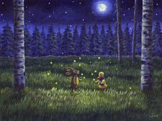Finse and Jonesy's night of fireflies is acrylic on canvas, 24 x 18 cm.