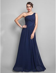 Sheath/Column One Shoulder Floor-length Chiffon Evening Dress (699444)