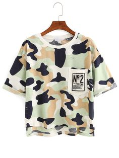 Shop Camouflage High-Low Pocket T-shirt - Green online. SheIn offers Camouflage High-Low Pocket T-shirt - Green & more to fit your fashionable needs.