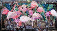 """DEL QUILTS: """"A Rash of Flamingoes"""" Ruth B. McDowell This is one of my favorite quilts made by Ruth.  She's a master at using a wide variety (and scale) of prints.  Click through to see several detail shots."""