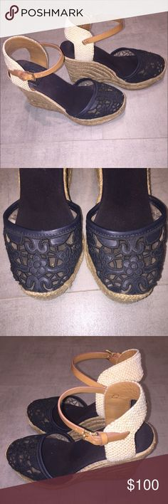 Tory Burch Lucia Lace Espadrilles Size 7 Gorgeous authentic Tory Burch espadrilles. Navy lace over the toe and a leather Cognac strap around the ankle. Very good used condition. The soles and footbed have some wear as pictured. Happy to answer any questions. Bundle to save, no trades. Tory Burch Shoes Espadrilles
