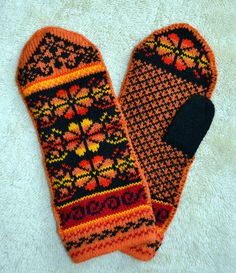 Norwegian Scandinavian hand crafted 100% Wool Mittens, folk art, Fair Isle - etsy