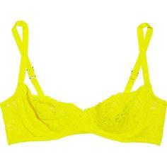 Deborah Marquit Giardino di Fiori Italian lace underwired bra (£62) ❤ liked on Polyvore featuring intimates, bras, underwear, lingerie, tops, bright yellow, bow bra, lace underwire bra, yellow lace bra and lingerie bras