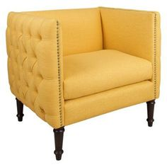 Skyline Furniture Nail Button Arm Chair Linen French Yellow - 5005NB-BRLNNFRNYLW