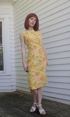 Vintage 60s Floral Dress Spring Sleeveless Button Back by soulrust