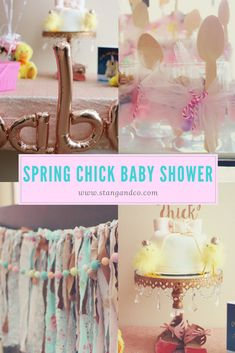 Spring Chick: A Spring Themed Baby Shower - Stang&Co. A shower for baby girl, perfect for spring time. Adding in chicks to celebrate the new little 'chick' who is on her way. Baby Shower Menu, Baby Shower Brunch, Baby Shower Favors, Baby Shower Parties, Baby Girl Shower Themes, Baby Boy Shower, Baby Balloon, Balloon Banner, Spring Banner