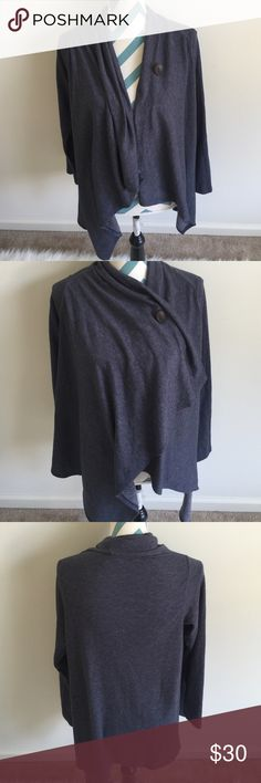Bobeau Top Like new dark grayish blue open front top. Super warm and comfy. One button closure. Perfect for lounging around the house or to keep warm outside in. bobeau Tops