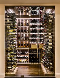 Transitional Modern Custom Wine Cellar by Papro Consulting C.- Transitional Modern Custom Wine Cellar by Papro Consulting Cable Wine System 4 Transitional Modern Custom Wine Cellar by Papro Consulting Cable Wine System 4 - Cave A Vin Design, Wine Cellar Basement, Home Wine Cellars, Wine Cellar Design, Wine Cellar Modern, Modern Wine Rack, Wine Display, Wine Wall, Wine Cabinets