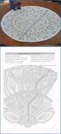 Round napkin diameter of 54 cm. Crochet Stitches Chart, Crochet Doily Diagram, Crochet Rug Patterns, Crochet Bedspread, Crochet Tablecloth, Filet Crochet, Crochet Yarn, Knitting Yarn, Crochet Circles