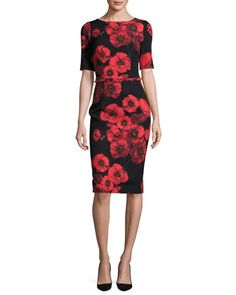 Short-Sleeve+Belted+Floral+Sheath+Dress,+Red/Black+by+David+Meister+at+Neiman+Marcus.