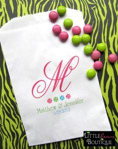 Candy buffet Bags, Monogram, Initial, Favor bags, Candy Buffet, Wedding, Bridal Shower,CUSTOM COLORS,Set of 24