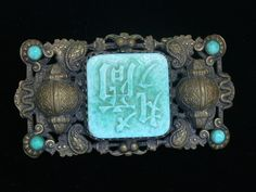 Large Max Neiger Art Deco Jade Peking Glass Brooch Pin Czech Chinese Characters in Jewellery & Watches, Vintage & Antique Jewellery, Vintage Costume Jewellery | eBay