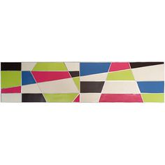 """Geogasmic"",  Enamel paint on aluminum, mounted on wood panel, 48"" w x 12"" h x 1-1/2"" d"