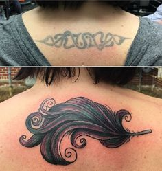 Before and after cover up. Love the colorful feather Mallory Raub created for me. Check out skintonz tattoos lancaster Pa. amazing tattooers! #womanscoverup #feathertattoo