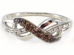 Chocolate Cognac Brown Diamond Infinity Endless Love Sterling Silver Ring 75% Off