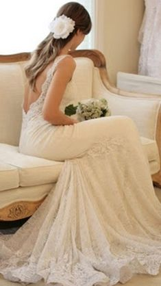 lace-open-back-wedding-dress - I'm pinning this just because I think the dress is beautiful Backless Lace Wedding Dress, Open Back Wedding Dress, Backless Gown, Strapless Dress, Bridal Gowns, Wedding Gowns, Wedding Bride, Wedding Cake, Lace Weddings