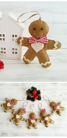Gingerbread man OR woman Christmas ornaments!  Felt Christmas ornament,  Christmas Decor, Christmas Tree ornament, Felt Decoration, Ginger Bread Man Felt, Christmas Tree Decor, Felt Hanging Decor, Christmas gift idea #ad