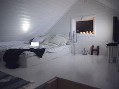 Love the white on white to brighten a dark attic loft.