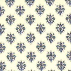 Blue Fleur de Lis Florentine Print Paper ~ Rossi Italy