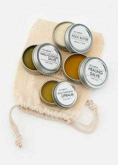 Fig+Yarrow Organic Balm + Salve Set—handcrafted salves to nourish and repair lips, feet, nails, and skin. Includes a healing salve, nail and cuticle salve, basil and cardamom lip balm, and an alpine foot butter in a gift-ready muslin drawstring bag | www.rodales.com