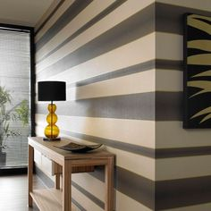 bholmes: Wallpaper - Verve Stripe : Brown Wallpaper : 58221 : Graham & Brown - striped wallpaper - love the different sizes of stripes Grey Striped Walls, Grey Walls, Accent Walls, Striped Walls Horizontal, Stripe Walls, Striped Wallpaper Modern, Stripe Wallpaper, Gold Wallpaper, Feature Wallpaper
